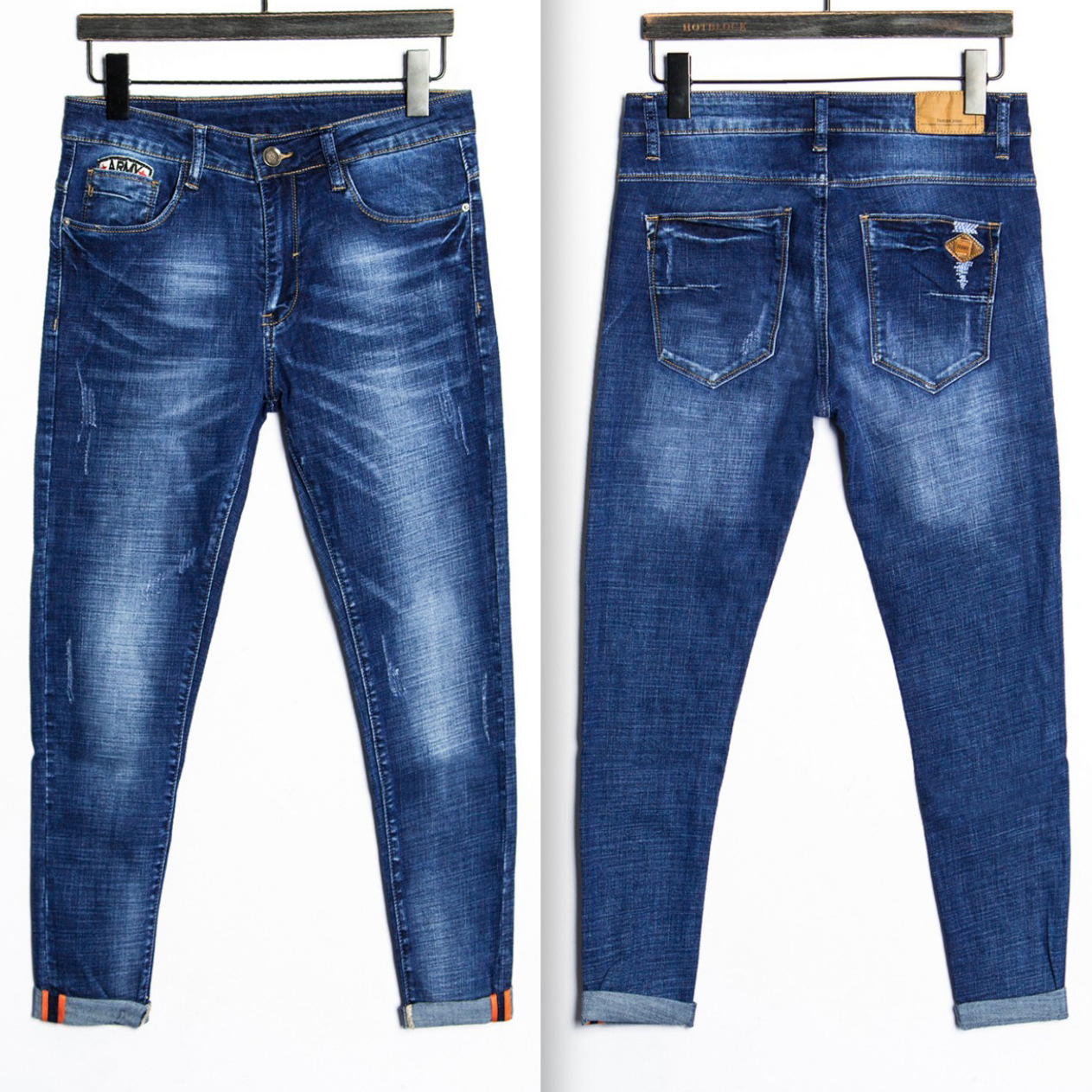 2017 New Arrival Nigrity Zipper Fly Slim Mid Straight Midweight Full Length Solid Pockets Jeans