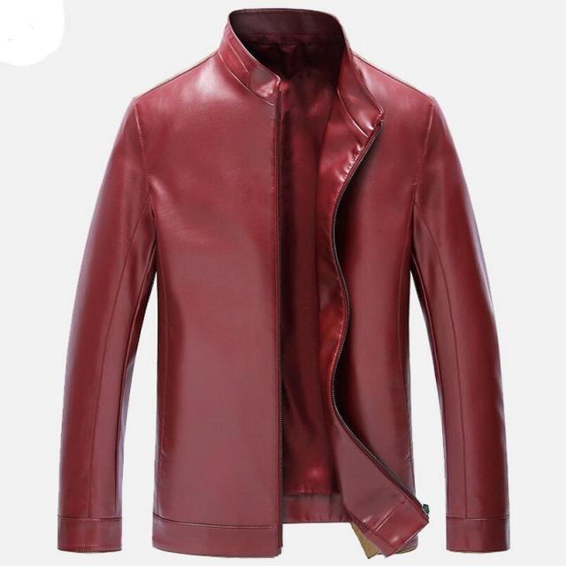 4 Color Men's Leather Jackets Spring Autumn Slim Leather Jacket Men Stand Collar Casual Men Clothing Leather Coat Big Size XXXL