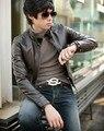 2016 Корейских мужские случайные прямые оптовые кожаное пальто молния манжеты тонкий Кожаный мужская мода