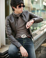 2016 Korean men's casual wholesale direct leather coat zipper cuffs slim Leather Men's fashion