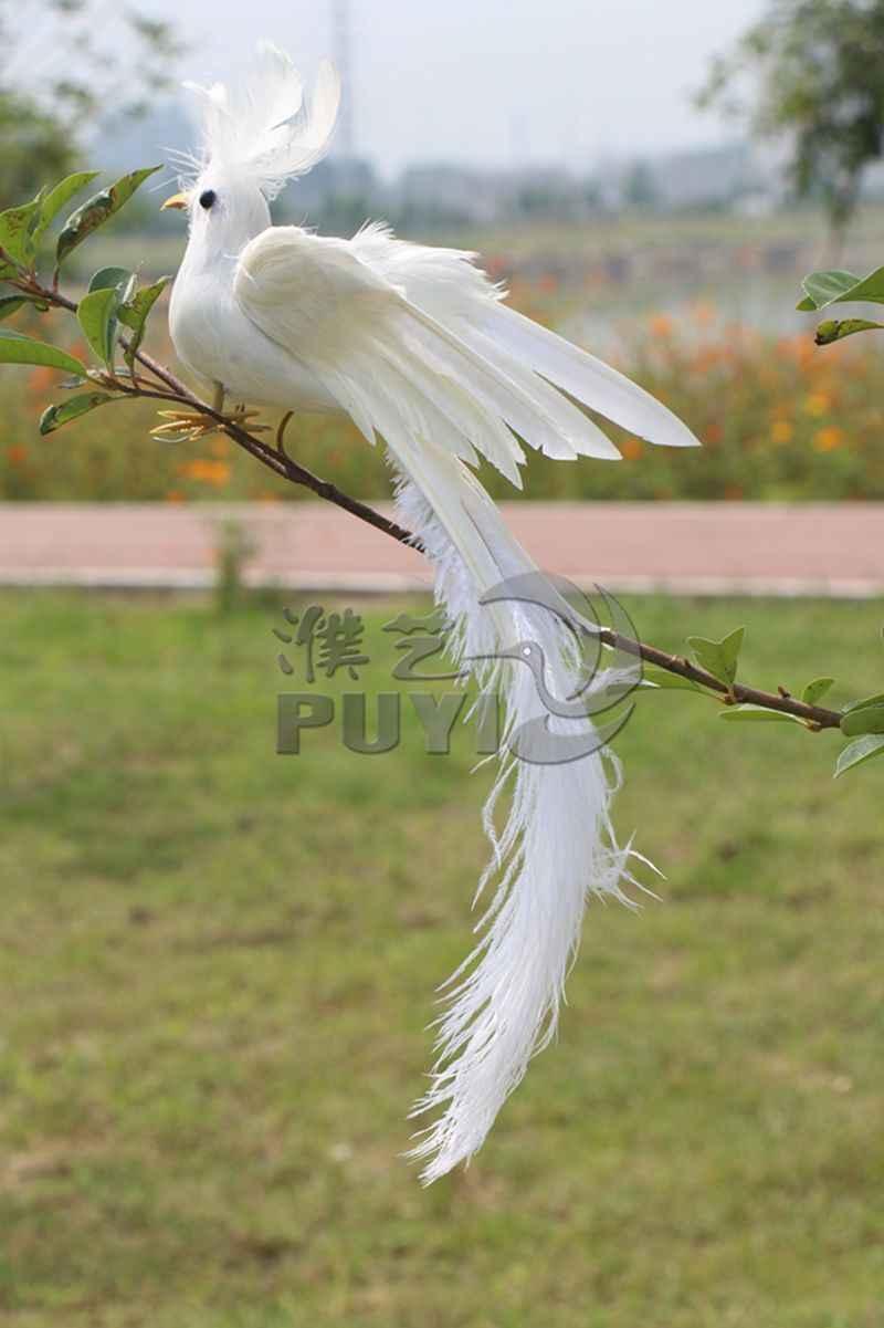 約28 × 20センチ拡散翼ホワイトフェニックス鳥モデルおもちゃ、ポリエチレン樹脂工芸品、家の装飾a1753