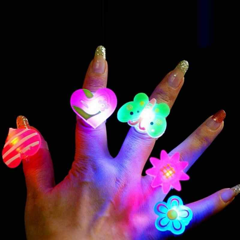 5pcs/lot Novelty Children Kids LED flashing Cartoon Ring Elastic Soft Jelly like Finger Ring Event Party Glow Toys Supplies