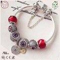 Top Qualidade Famosa Marca de Luxo Série Vermelha 925 GenuineSilver Charm Bracelet Para A Mulher