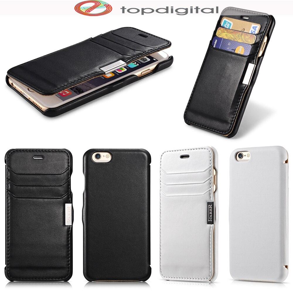 Цена за ICarer Luxury для iPhone 6 Чехол Флип Натуральная кожа для iphone 6S бумажник случай карточки Магнит Фолио Защитная крышка отделения для карточек