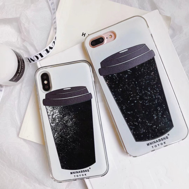 brand new db78d b36fa Aliexpress.com : Buy Coffee Cup Black Diamond Liquid Glitter Case For  iPhone X 8 7 6 6S Plus Dynamic Quicksand Sand Hard PC Phone Cover For  iphone 8 ...