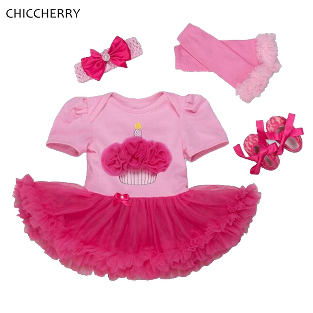Cupcake Applique Girls Birthday Tutu Sets Lace Romper Dress Headband Leg Warmers Shoe Baby Girl Clothes Toddler Birthday Outfits