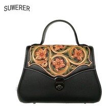 SUWERER New Women Genuine Leather bag Handmade Carved luxury top cowhide fashion tote shoulder designer women famous brand