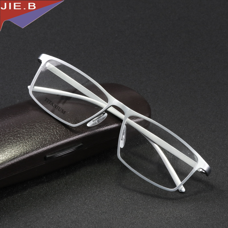 JIE. B marque lunettes cadre hommes femmes rétro pur titane lunettes cadres oculos de grau ordinateur optique lunettes myopie nerd