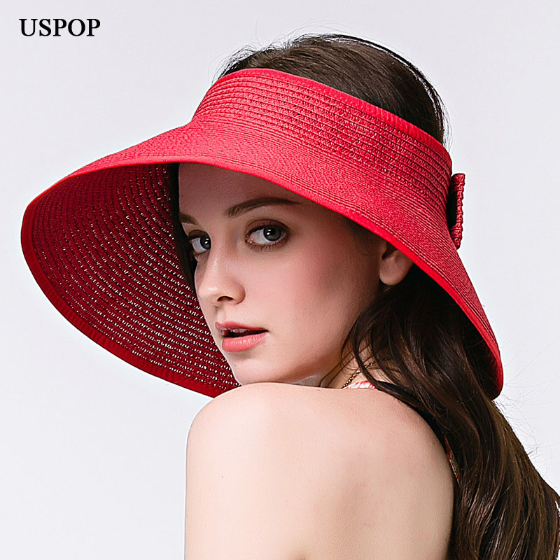 2018 New woman sun hats foldable bowknot hand made straw sun hats female casual big brim shade hat Empty top hat beach cap