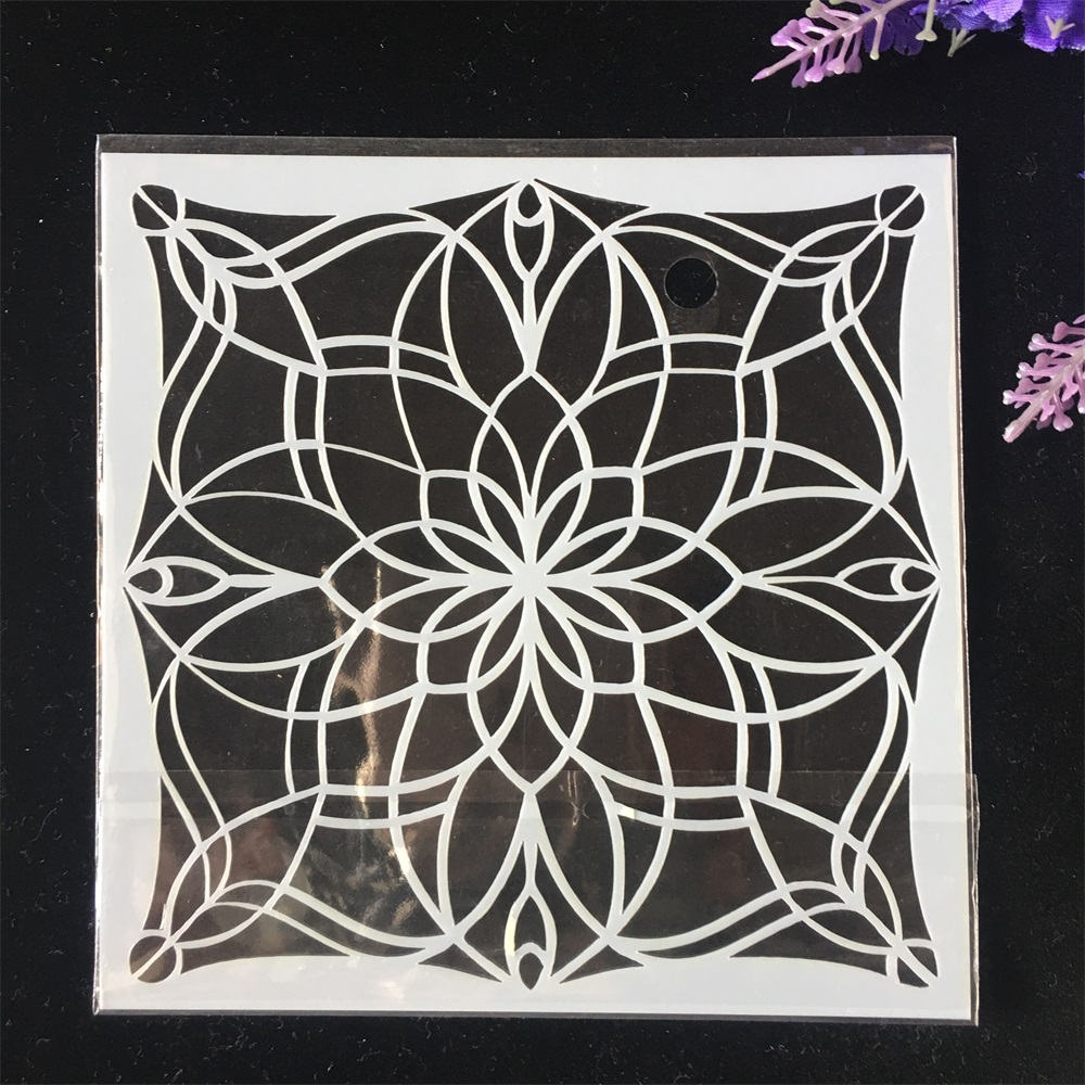 1Pcs 13cm Geometry Flower DIY Craft Layering Stencils Wall Painting Scrapbooking Stamping Embossing Album Card Template