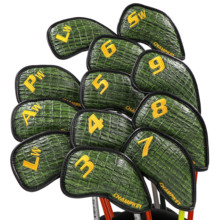 Buy NEW Champkey Golf Iron Headcover 12pcs/set with Closure New Green Color Snake Thick PU Leather Surface directly from merchant!