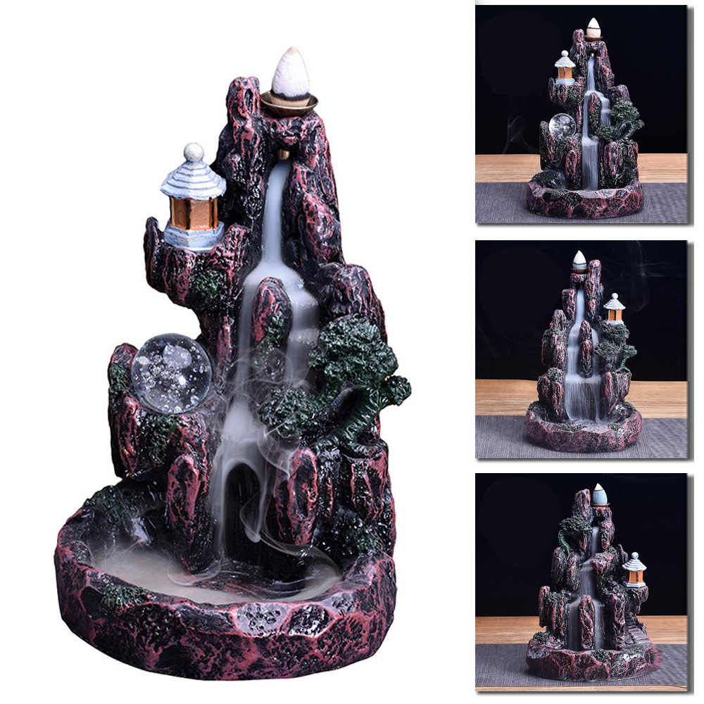 Artificial Vintage Resin Backflow Mountain Smoke Waterfall Incense Burner Cone Censer Replacement Home Decoration Incense Burner