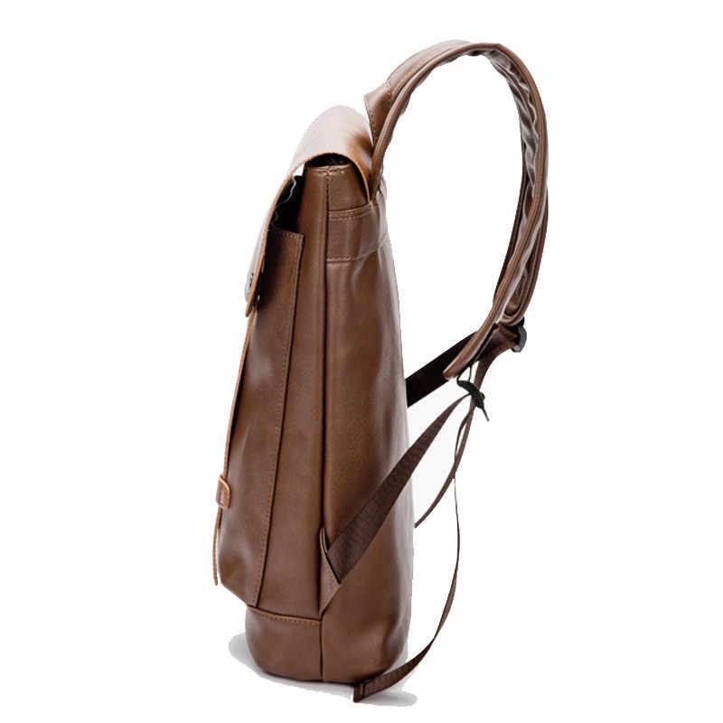Винтажный стиль мужской рюкзак из искусственной кожи мужской s Водонепроницаемый рюкзак мужской колледж вуз сумка на плечо двойной ремень дорожный рюкзак