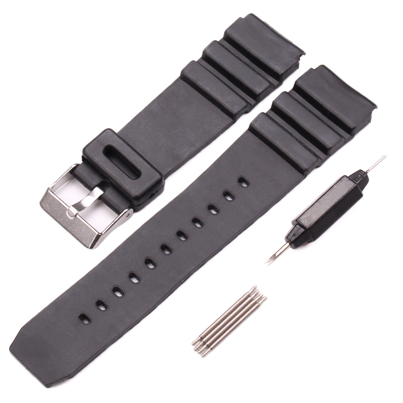лучшая цена 18mm 20mm 22mm Watchband Black Rubber Sport Wrist Men Silicone Military Diving Watch Strap Band For casio g-shock Accessories
