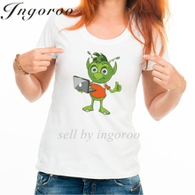 Babaseal 3d Pointy Eared Alien Thumbs Up With Laptop Printer Womens Tshirt Vegan Shirt Bts Funny Tee Designer Women's Tops(China)