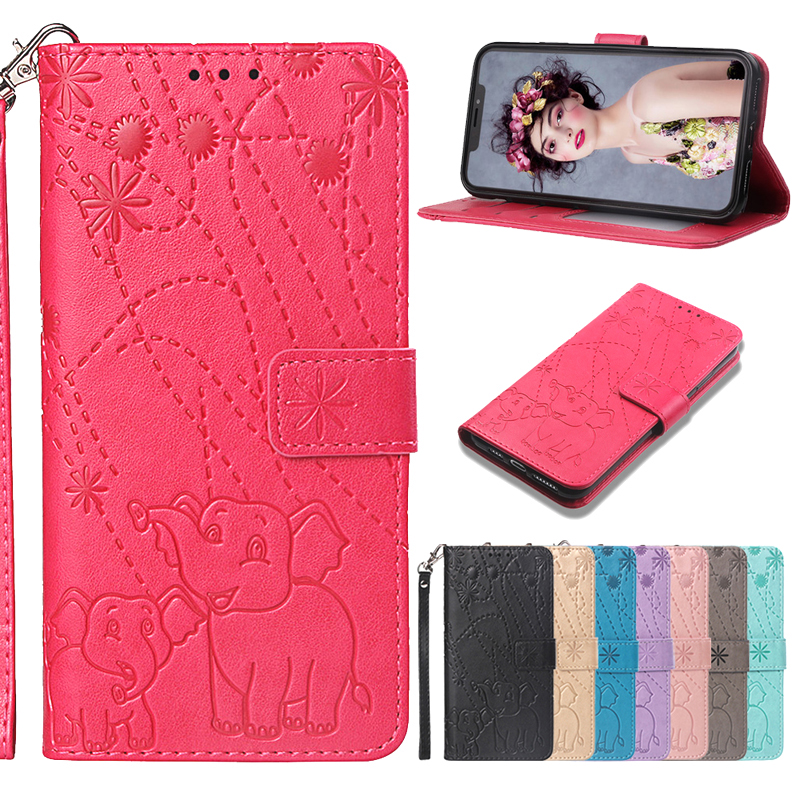 Fireworks Elephant Embossed Leather Flip Wallet Case Soft Phone Silicone Cover Coque Funda For Motorola G6+g6 Plus One/p30 Play