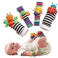 2pcs/set  Baby Infant  toys  Soft cartoon  Handbells Hand Wrist Strap Rattles/Animal Socks Foot Finders educational  Toys  TO70