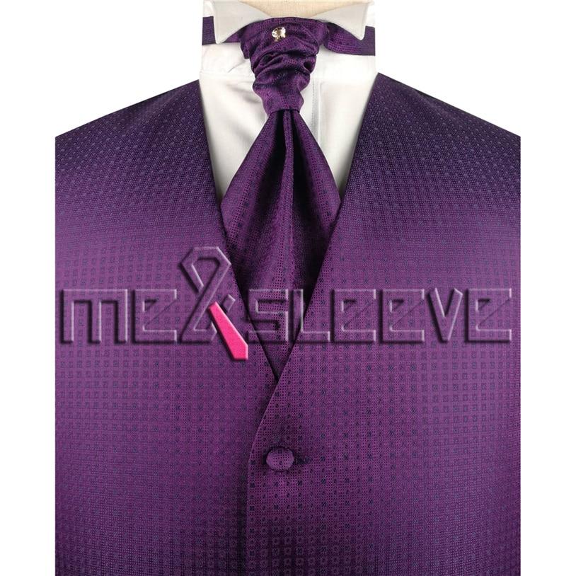 hot sale waistcoat wedding man s purple vest 4pcs solid colour