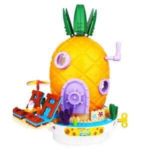 Image 1 - 2020 SpongeBob musique ananas maison Compatible lepining bob léponge amis blocs de construction éducation jouets pour enfants anniversaire