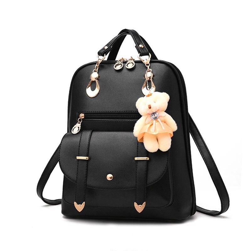 Preppy Style Women Backpack Bear Toys PU Leather Schoolbags For Teenage Girls Female Rucksack Shoulder Bag Travel Bag