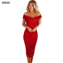 Zkess Women Sexy Bodycon Sheer Lace Bardot Midi Dress Off Shoulder Neckline  Stretchy Fitted Party Night bb0367817b03