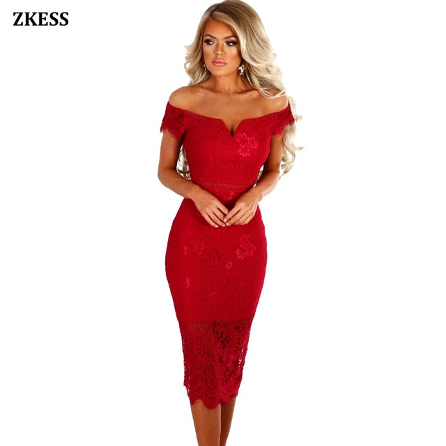 Zkess Women Sexy Bodycon Sheer Lace Bardot Midi Dress Off Shoulder Neckline  Stretchy Fitted Party Night Club Dresses LC61975 a761dfd12