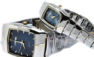 Longbo Woman's Man Square Couple Watch Water Resistant Stainless Steel Men Calendar Women Classic Quartz Wrist Watch Waterproof