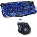 Púrpura/Azul/Rojo LED Retroiluminación Respiración Pro Gaming Combos Ratón Teclado USB Con Cable Clave Completa 5500 dpi Profesional ratón Teclado