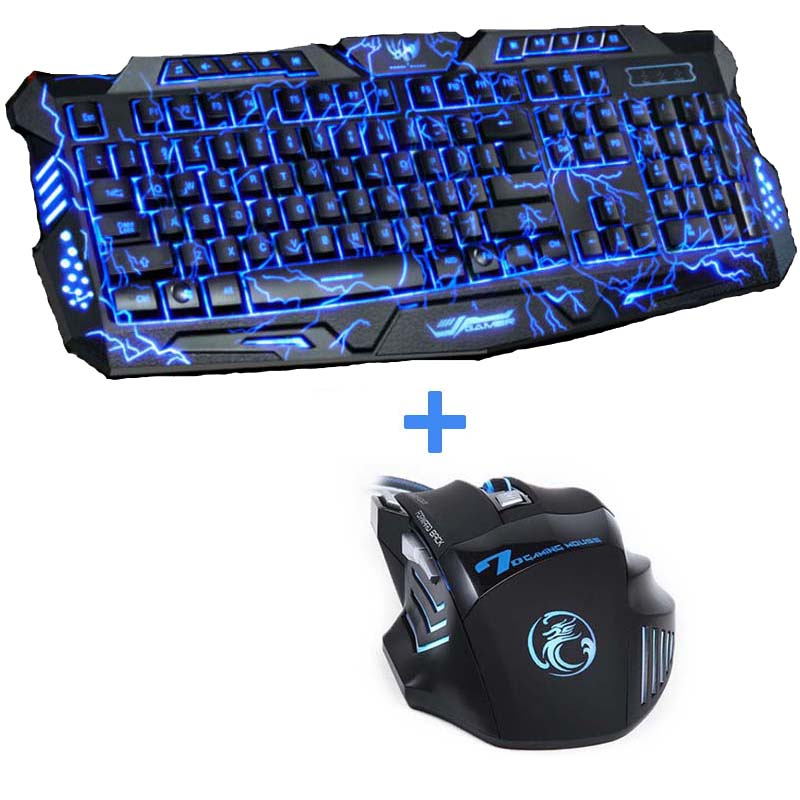 Púrpura / Azul / Rojo LED Respaldo Retroiluminación Pro Gaming Keyboard Mouse Combos USB Wired Full Key 5500dpi Teclado profesional para mouse