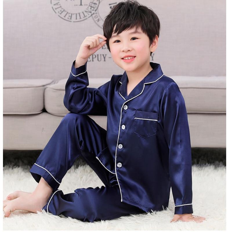 Pijama de seda de manga longa para meninas meninos pjs outono conjunto de pijama de cetim de seda harper sete pijamas pijamas terno 10 anos de idade