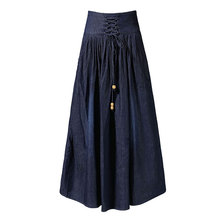 Plus Size Long Women Jean Skirt Summer New Solid Lace-up High Waist faldas mujer moda Femme New Female Skirt Faldas Mujer