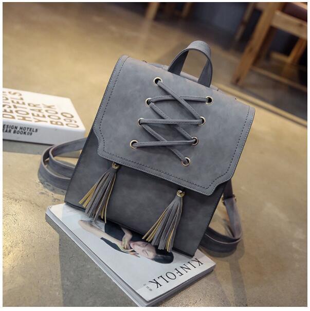 1 piece Pu Leather bandage Tassel Square Weave Women Backpack School bag for teenager Girls Female