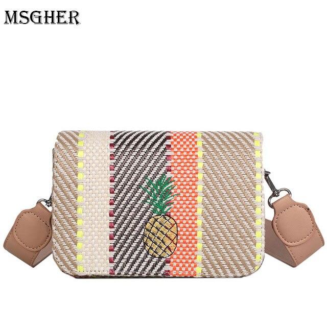 M.S Pineapple Embroidery Striped Panelled Straw Handbags Shoulder Womens Small bag Fashion Designer Holiday Beach Handbag SW041