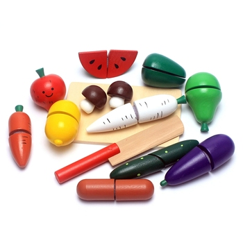 Wooden Kitchen Toys Cutting Fruit Vegetable Pretend Play Simulation Miniature Kitchen Playset baby Food Toddlers Baby Christmas