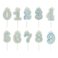 1pc Glitter Number Birthday Candle 0 9 Silver Crown Children Candles Cake Party Supplies Decoration