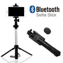 2017 New Foldable Tripod Monopod Selfie Stick Bluetooth With Button Pau De Palo Selfie Stick For