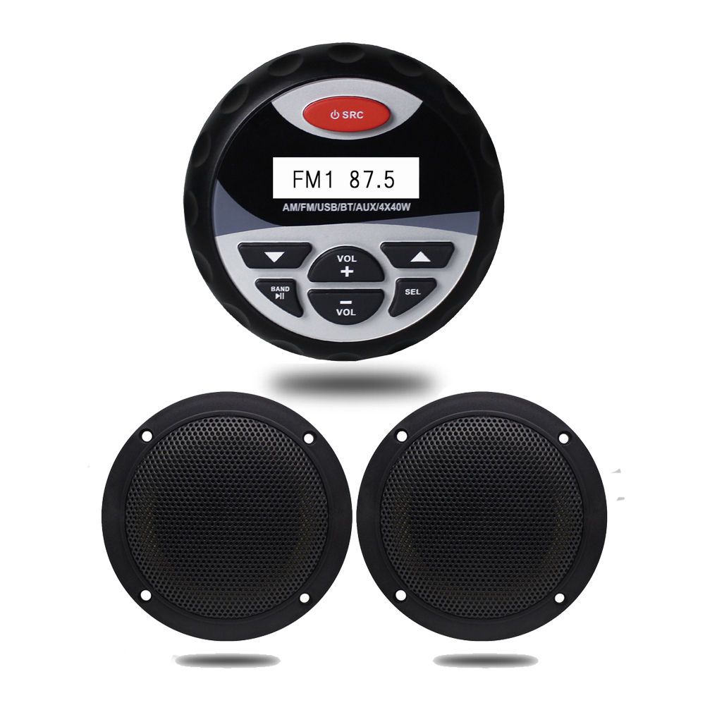 Waterproof Marine Stereo Bluetooth Gauge Radio FM AM Audio 4 Inch 2 Way Marine Boat Waterproof