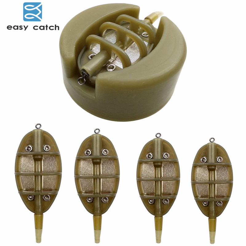 Easy Catch 5pcs/set 15g 20g 25g 35g Inline Method Feeder With Mould Carp Fishing Casting Lead Sinker Bait Holder Thrower Set набор рыбака atemi telespin feeder combo easy catch 2 10m 912 50007