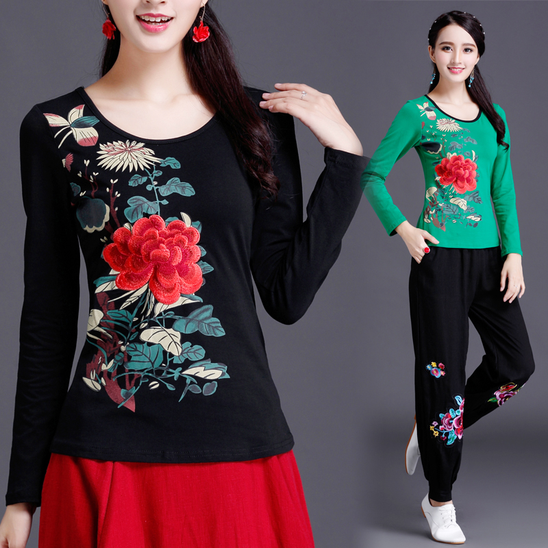 0740d876711 classic Spring autumn chinese style embroidered women print long-sleeve T-shirt  female national trend tops plus size