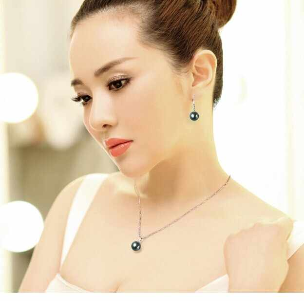115ZHAO Choose color is round 9-10mm pearl Pendant 925 Silver necklace