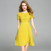 Youth Campus Chiffon Dress Short Sleeved Lace Stitching Pleated Yellow High End Fashion Women Sexy Knee