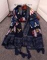Designer hijab scarf 2016 vintage 70s ethnic long black floral print scarf muffler cape shawl wrap birthday gifts