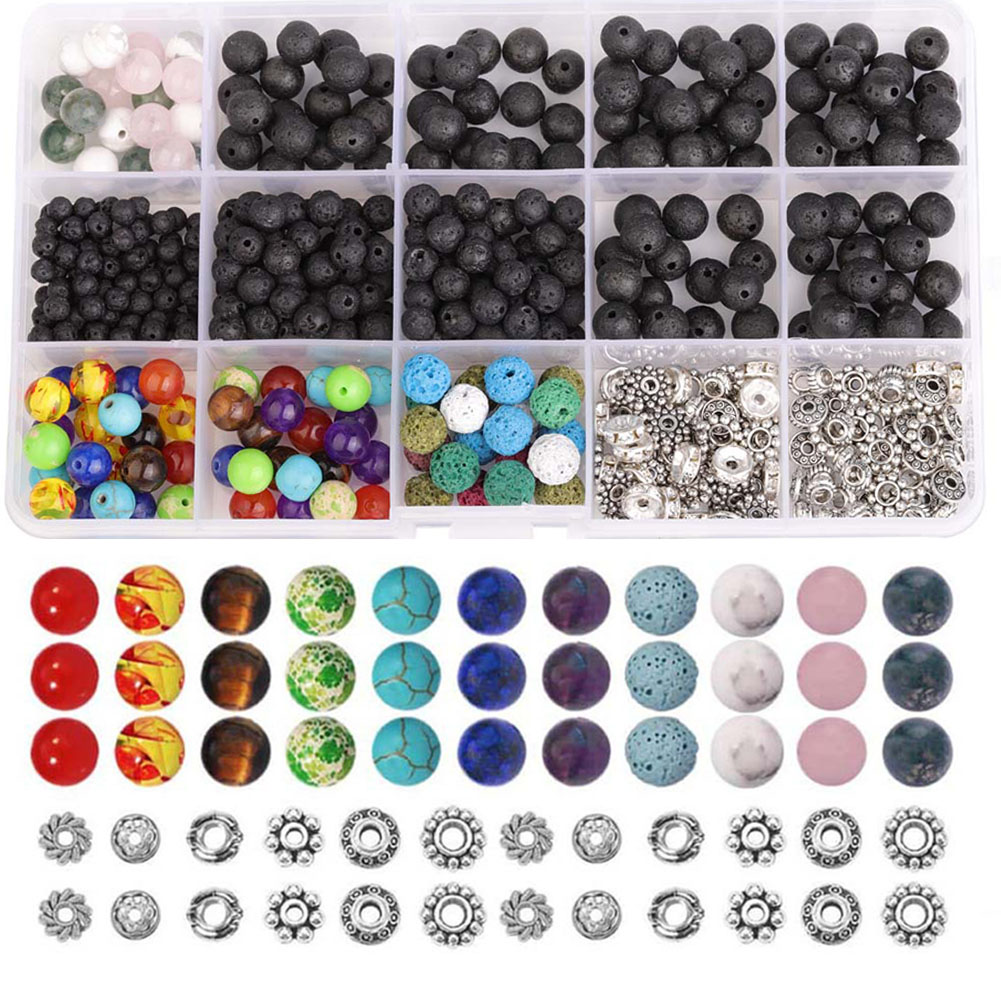 500pcs Lava Beads Zinc Alloy Volcanic Stone Stone Rock Elegant Handmade Large Varies Spacer Natural Stone Chakra Beads 4-8mm(China)
