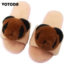 Winter Women Home Slippers Warm Wool Rabbit Fur Cute Animal Panda Cartoon Rubber Flat Casual Woman Plush Shoes