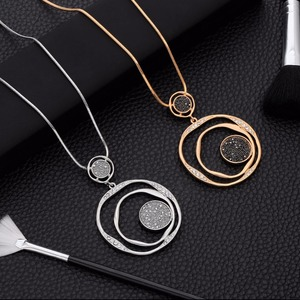 Luxury Black Crystal Pendant Necklace Gold Sweater Chain Big Circle Round Pendant Long Necklace Women Jewelry Accessories Gifts(China)