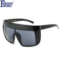 FOENIXSONG Women S Shield Flag Top Sunglasses Men Brand Designer Black Plastic Frame Sun Glasses Unisex