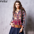 Artka Women's Autumn New Vintage Printed Turn-down Collar Full Sleeve Patchwork Loose Style Casual Shirt SA10768C