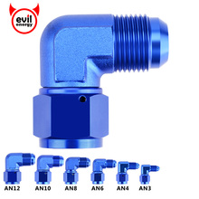 evil energy AN3-AN12 90 Degree Female AN8 Swivel Adaptors To Male Oil Fuel Adapter Fitting Cooler Kit Blue Red Black