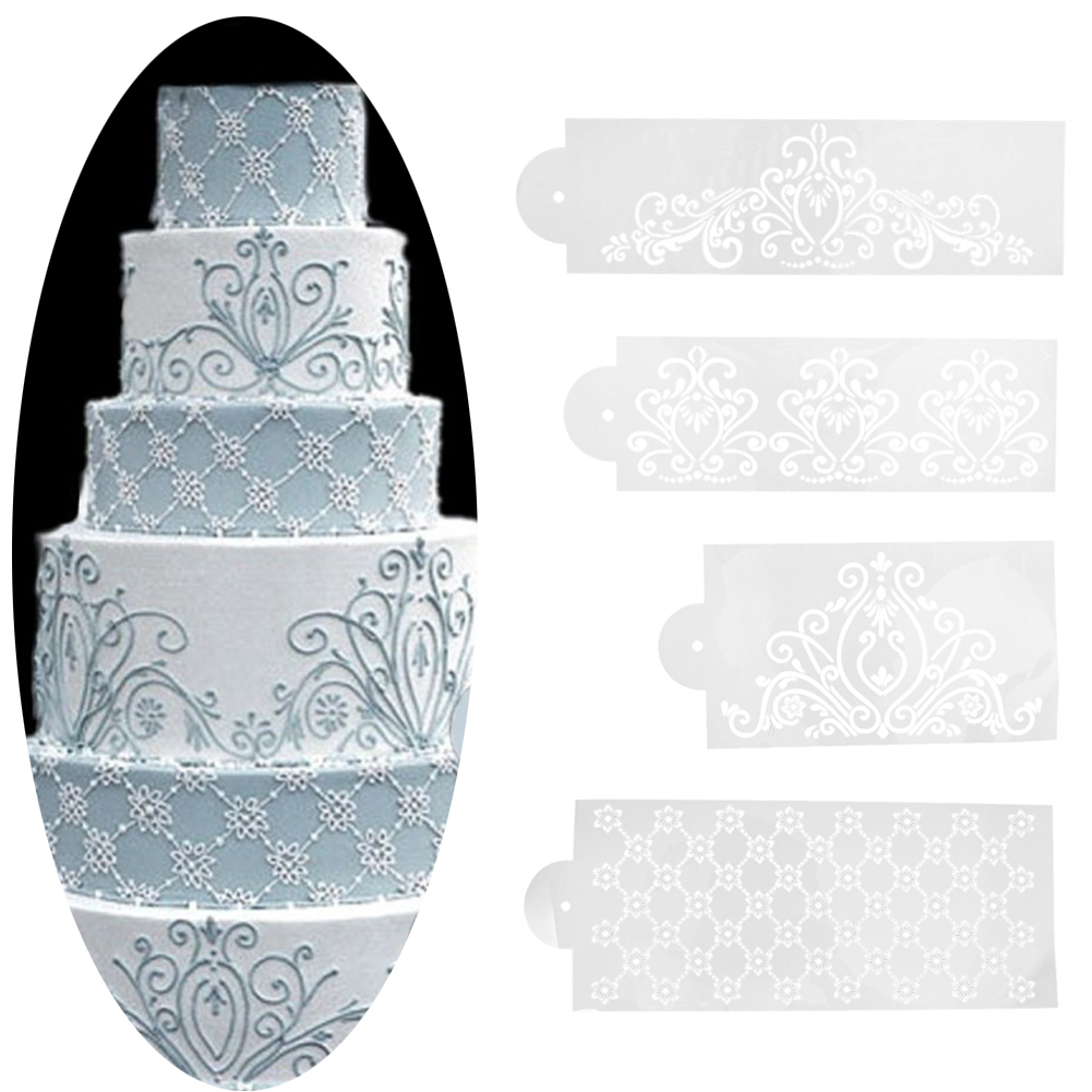 Plastic 4PCS/Set Template Mold Baking Tool Princess Lace Cake Cupcake Cookie Stencil Fondant Cake Border Stencil Decoration Set