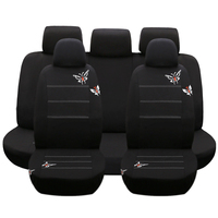 Dewtreetali Universal 9pcs Set Front Back Car Seat Covers Embroidery Car Seat Cover Protector Four Seasons